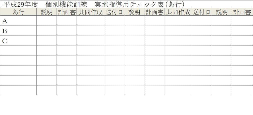 個別機能訓練実地指導用チェック表