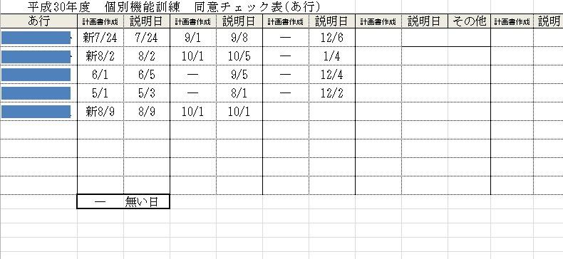個別機能訓練3ヶ月説明表